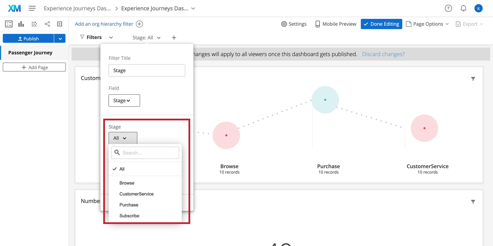 Selecting a specific stage from the dashboard page filters