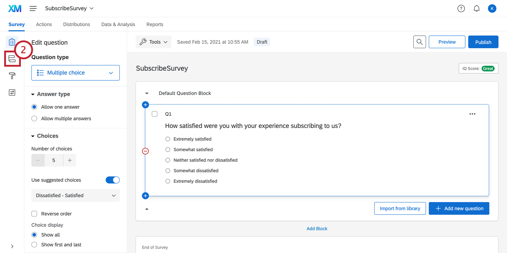 Selecting the survey flow