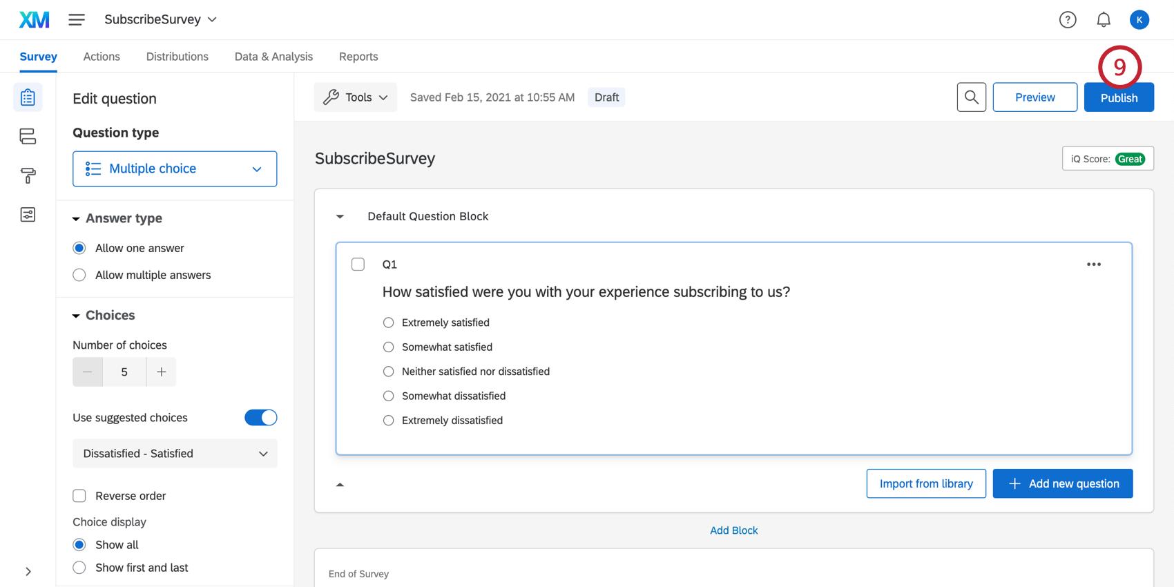 Publishing the survey