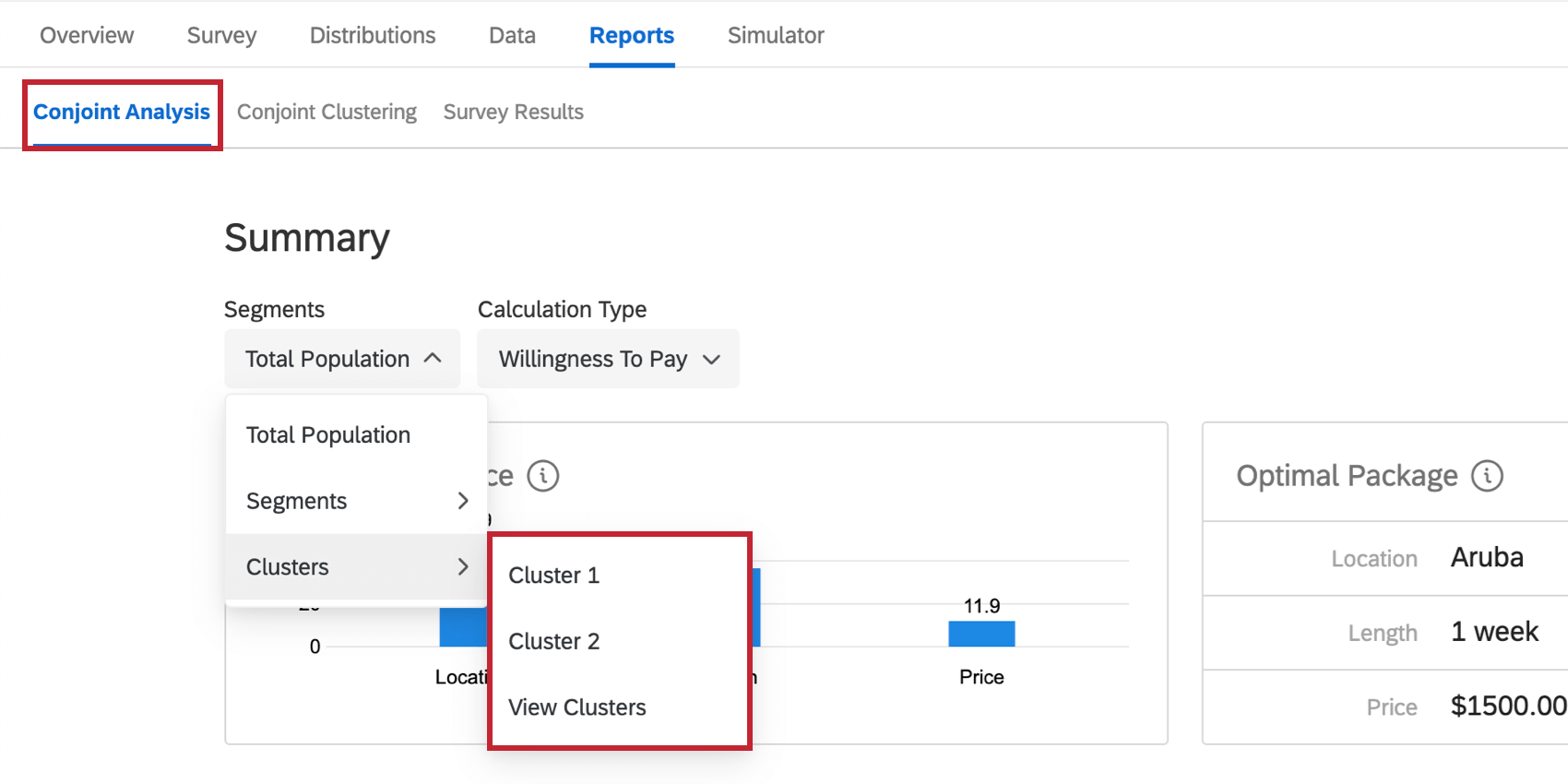 In the Conjoint Reports, the dropdown is expanded and a cluster is selected
