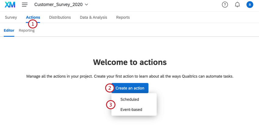 navigating to the actions tab of a survey and clicking create new action