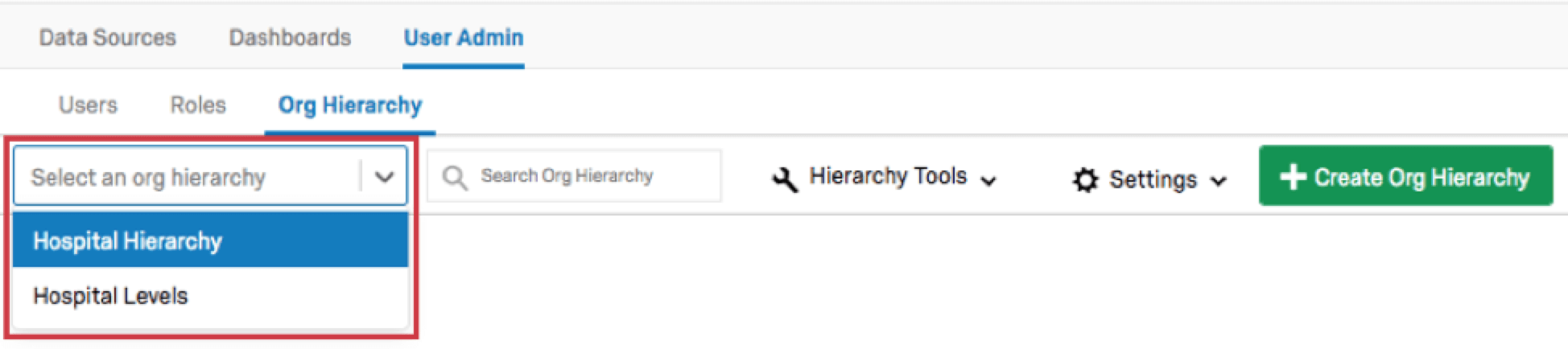 Hierarchy selection dropdown menu opened to reveal other hierarchies that can be selected