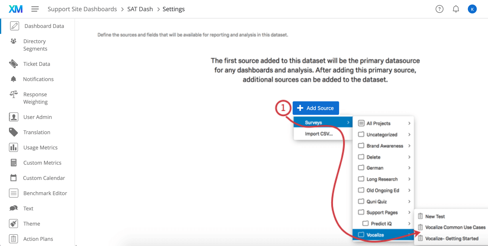 Add source button clicked in dashboard data tab