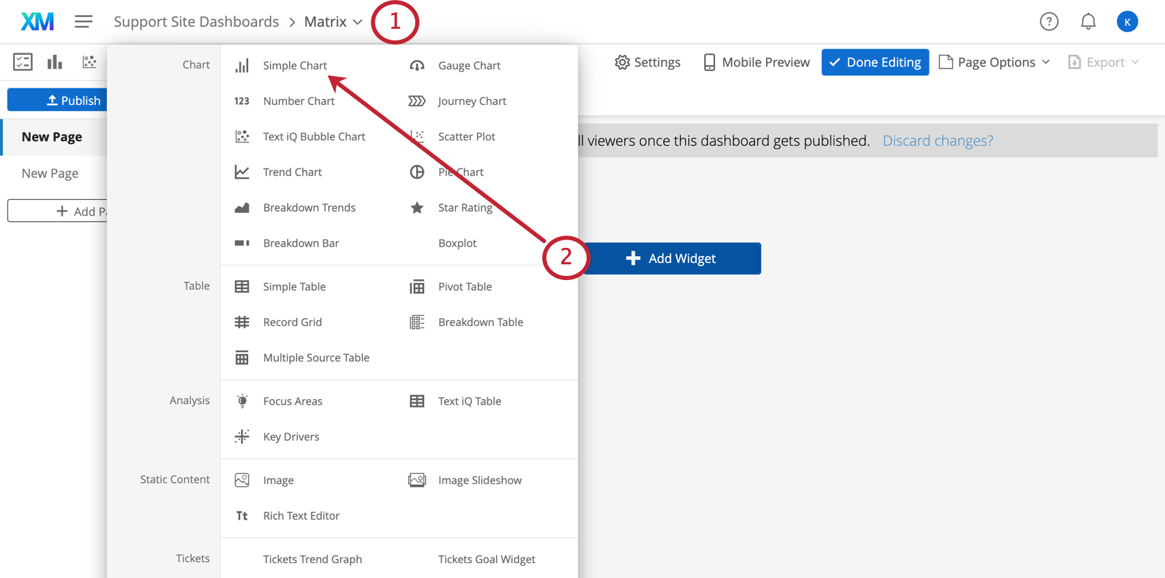 On the dashboard, the add widget button is clicked and the simple chart option is literally first