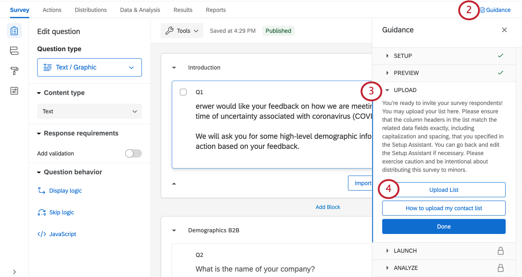 clicking upload list in the upload section of the project guidance