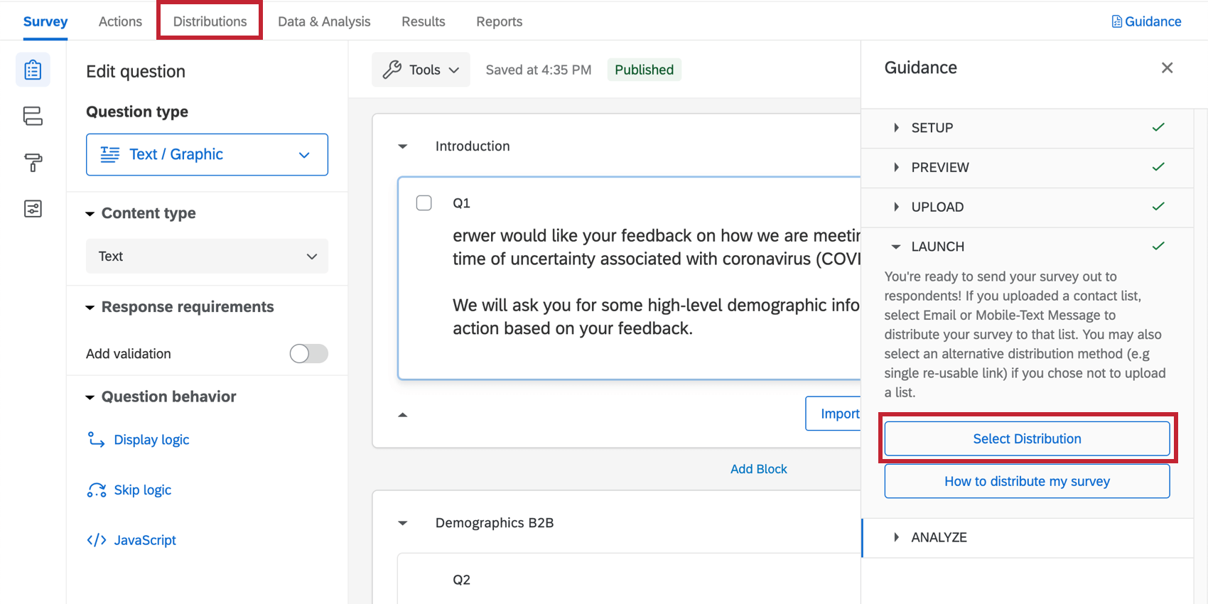 clicking select distribution, or navigating to the distribution tab