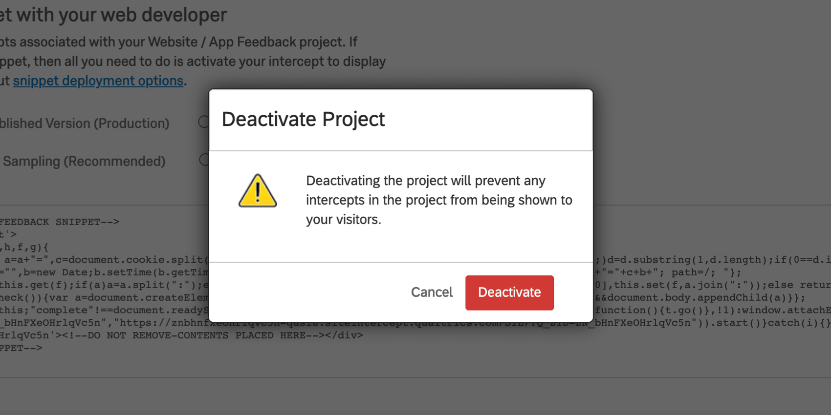 Deactivate Project warning window
