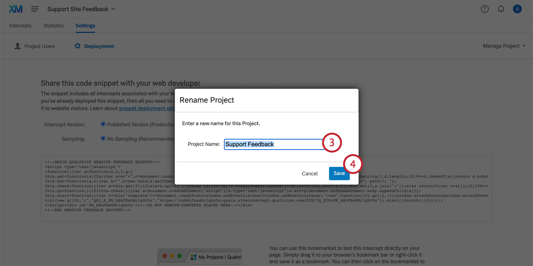 Renaming a project in the Rename Project window
