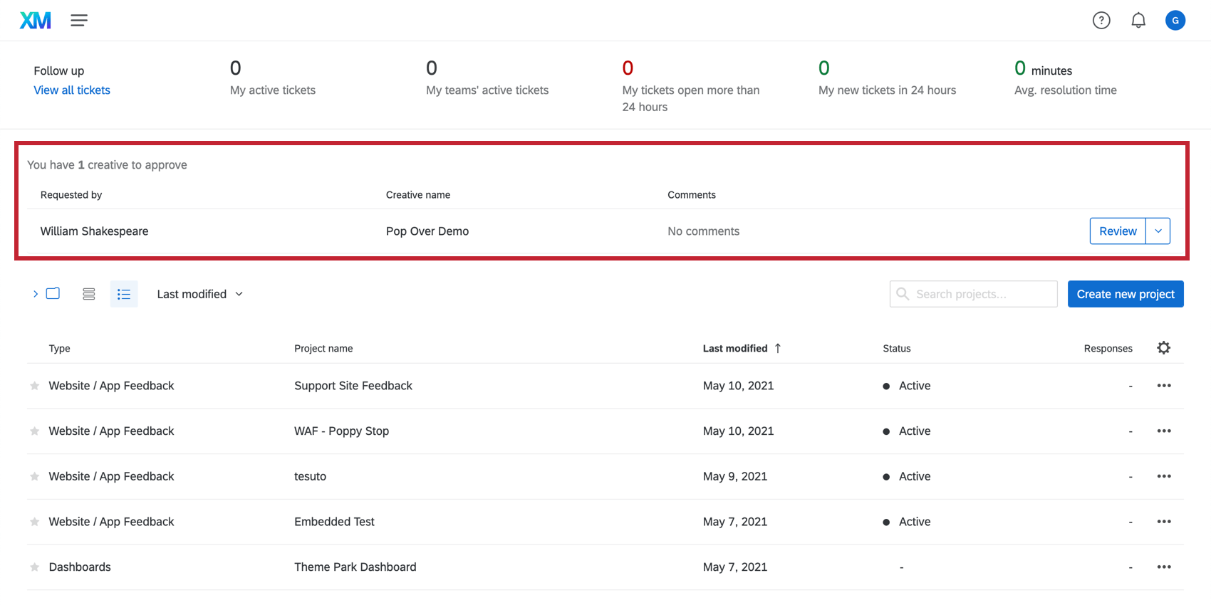 Pending approval requests at the top of the Projects page
