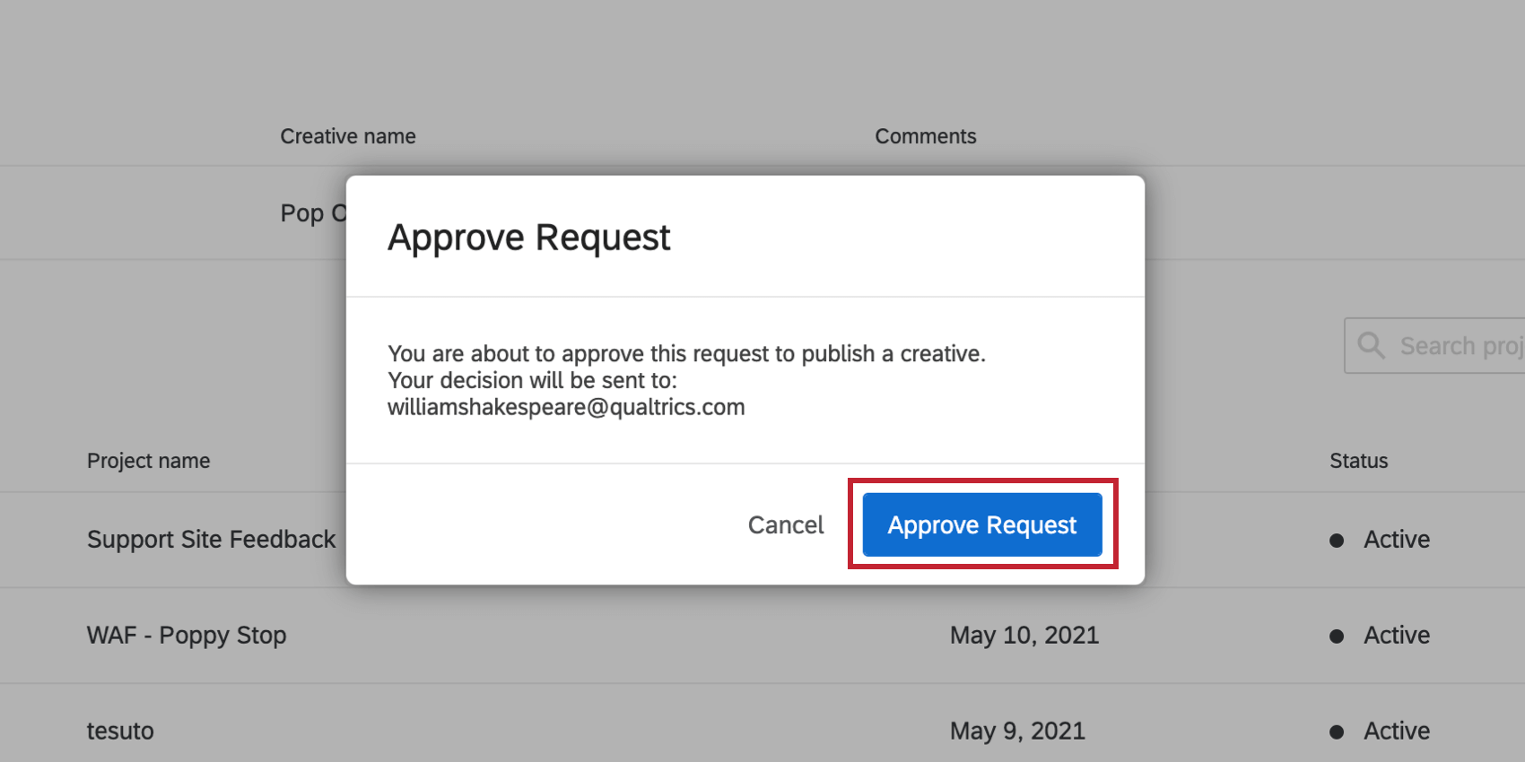 Approve Request button is indicated in the Approve Request window