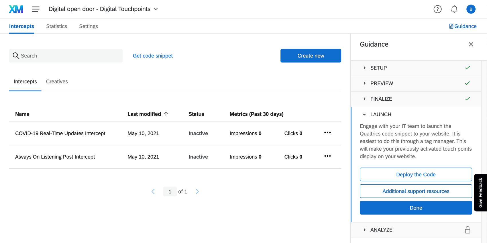 Intercepts section of the intercepts tab