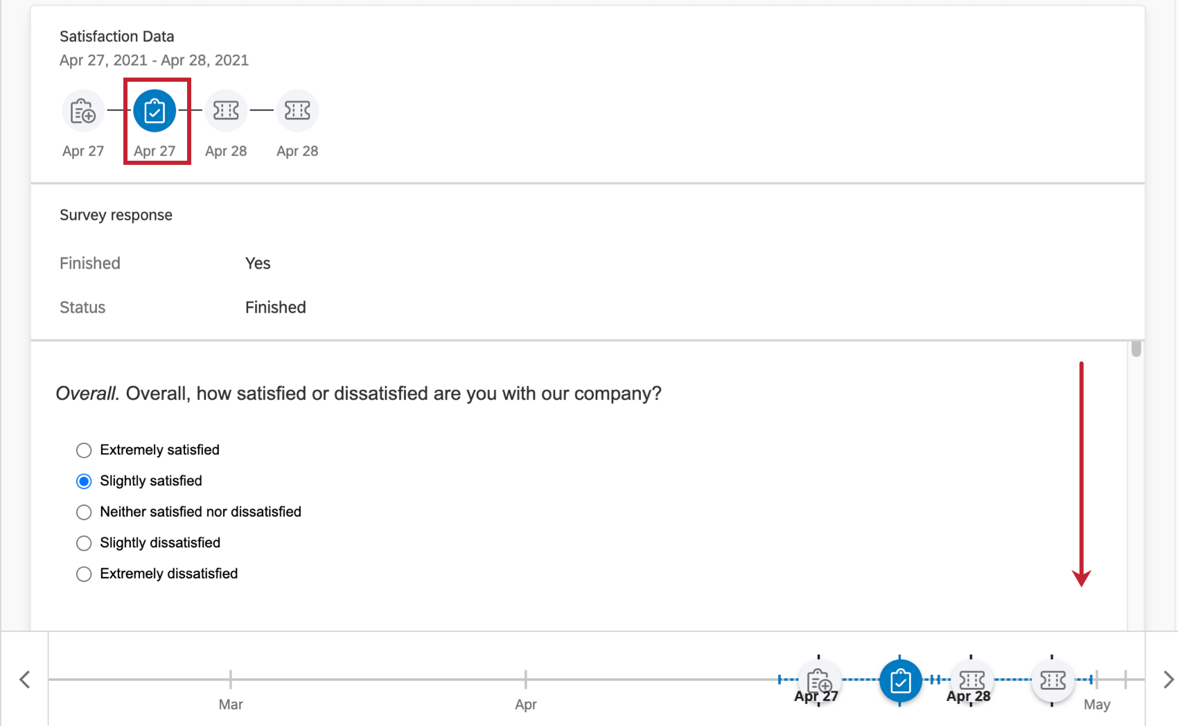 Image of a scrollable survey response