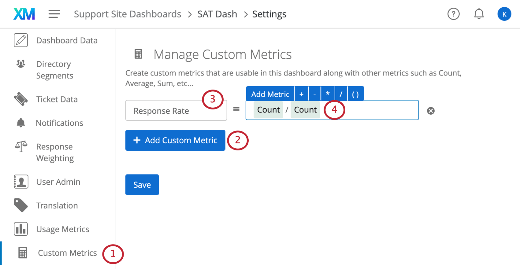 Image of the custom metrics section of dashboard settings, Adding name and equation as described