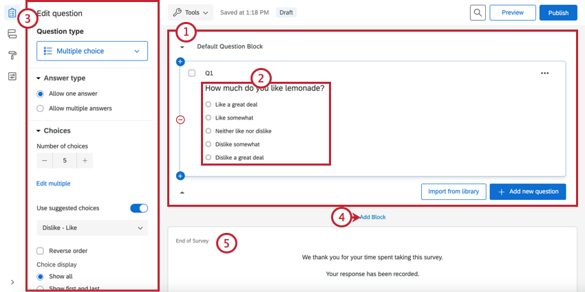 the different main components of the survey builder for adding survey questions