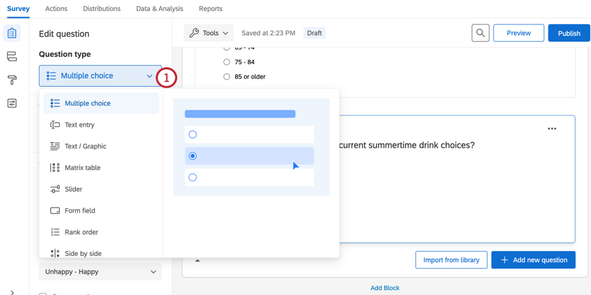 clicking the question type dropdown menu