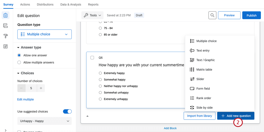 clicking add new question