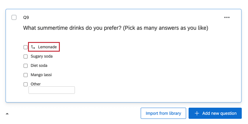 the lemonade option with an arrow next to it denoting display logic