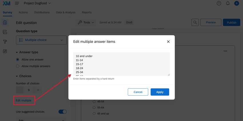 the edit multiple button in the survey builder