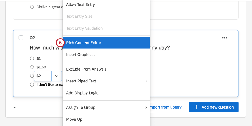 selecting rich content editor in the answer choice menu