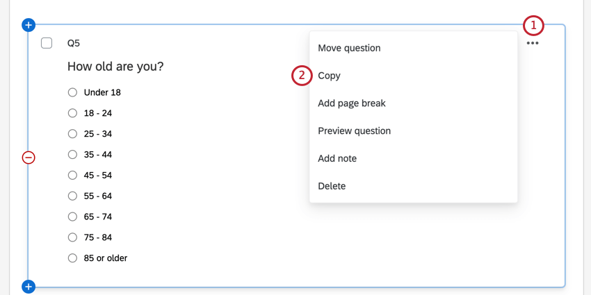 using the question options menu to copy the question