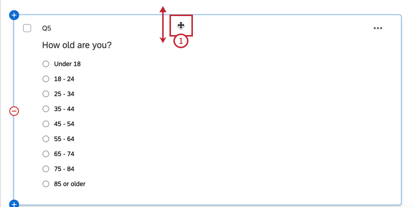 clicking and dragging the question to move it
