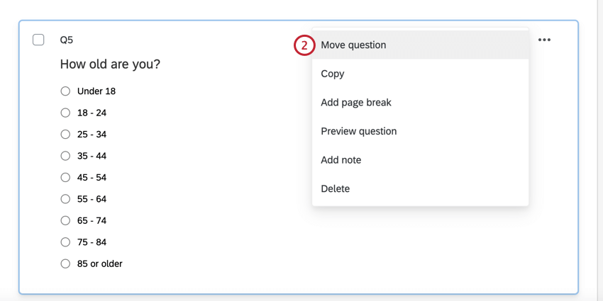selecting move question in the question options menu