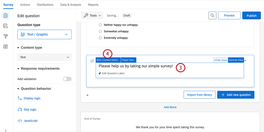 changing the question text and clicking rich content editor