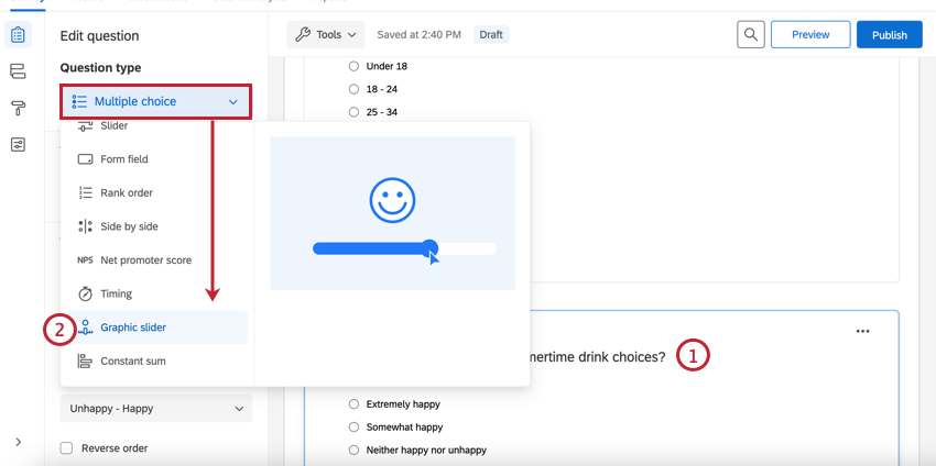 changing the question type to graphic slider