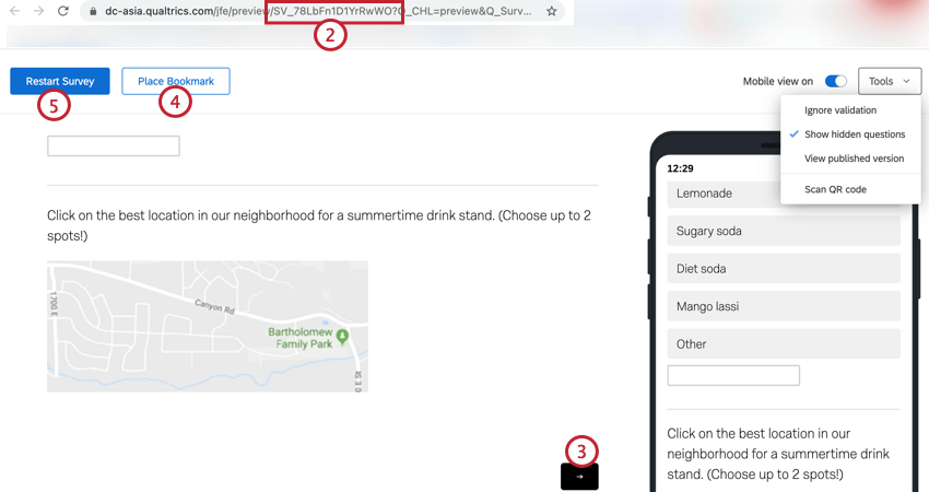 copying the survey id and navigating through the preview using the navigation buttons