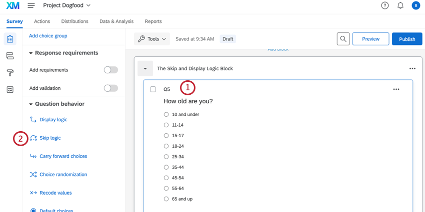 clicking the age question and then skip logic