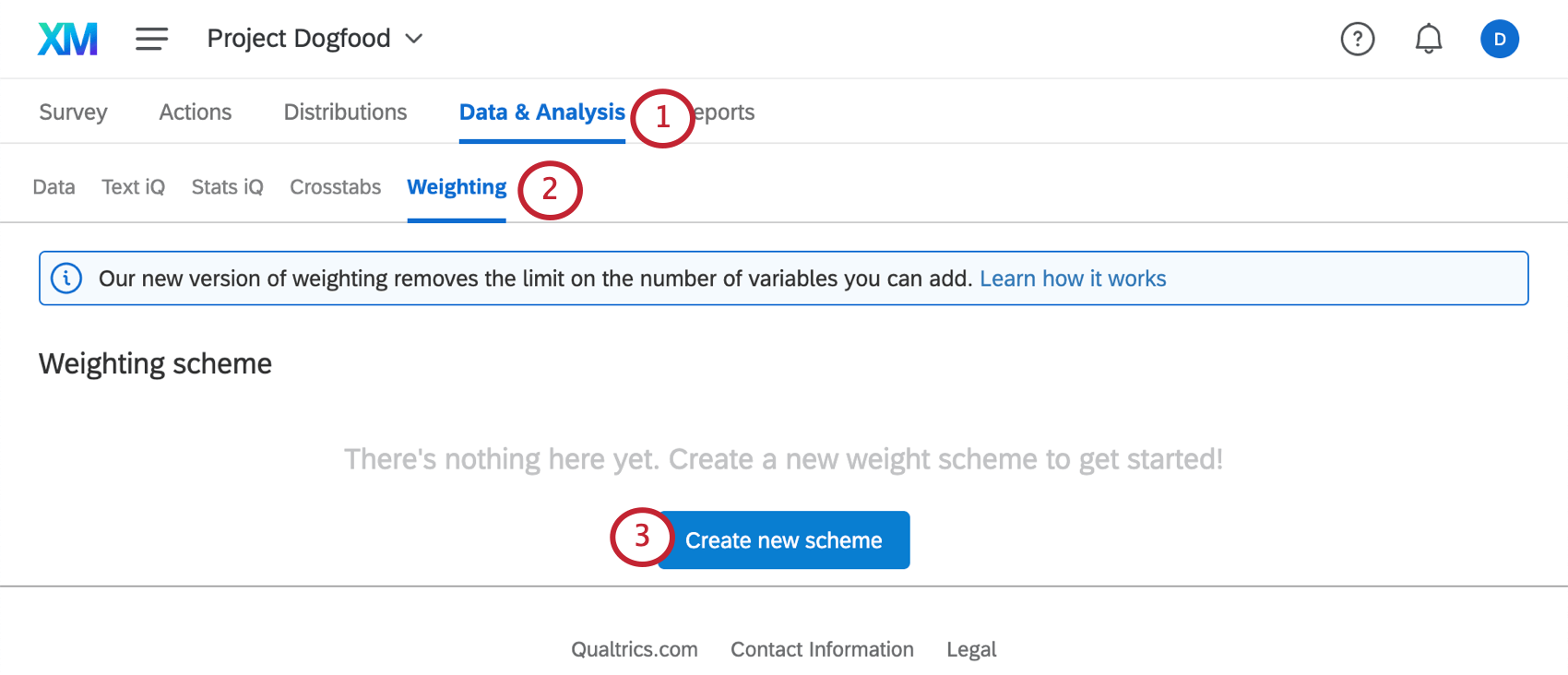 Picture of the weighting tab with the create new scheme button in the center
