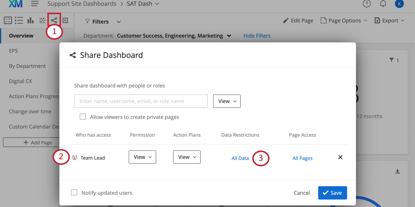 Share window is open over dashboard