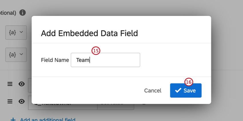 adding value based on an embedded data field and entering the embedded data field name