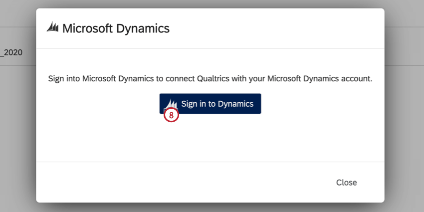 clicking sign in to dynamics