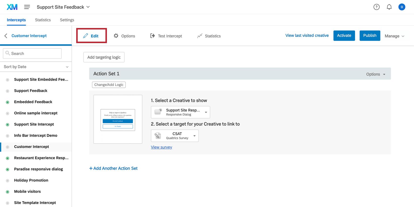 Edit intercepts section in Website / App Feedback