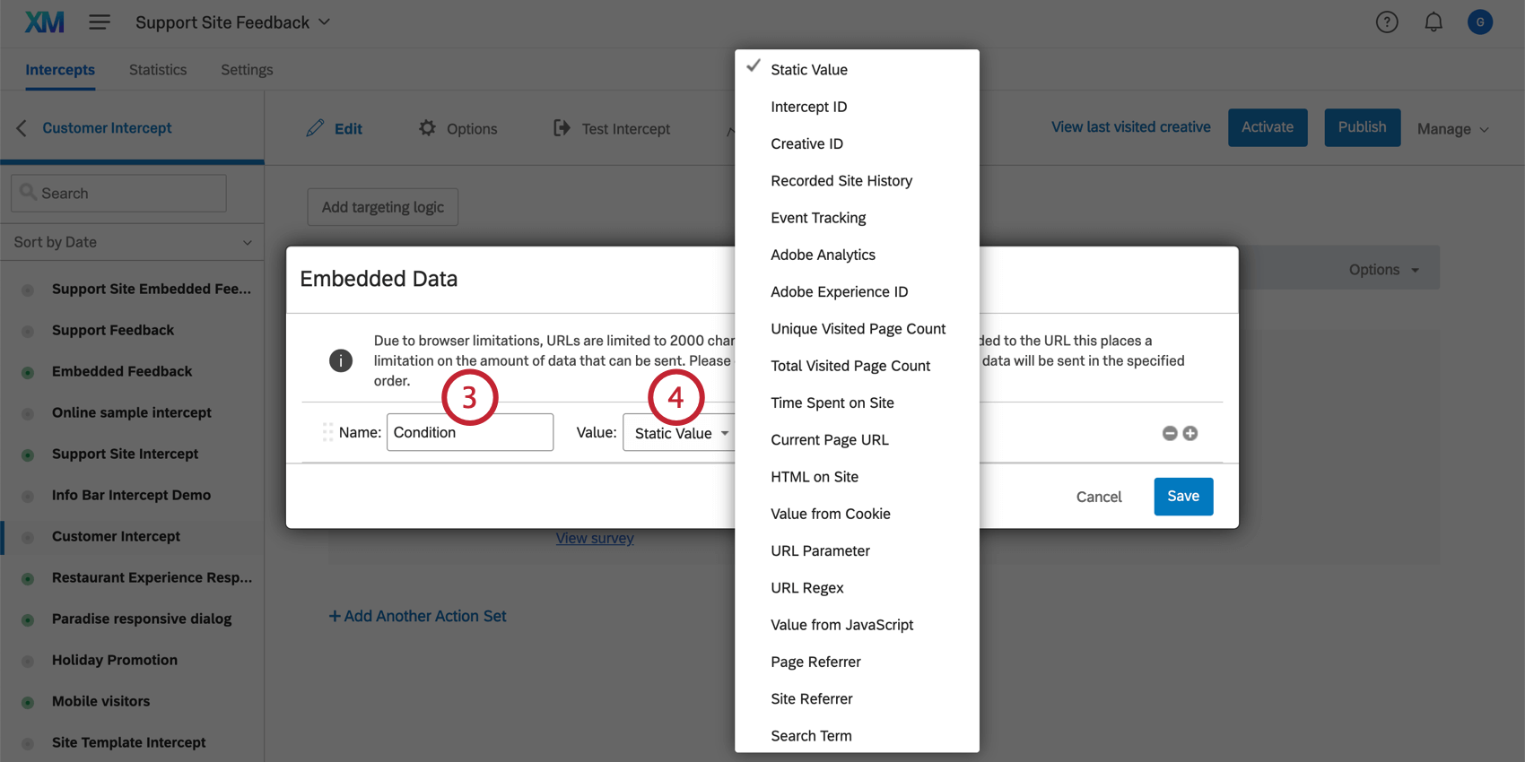 Naming an embedded data field in Website Feedback