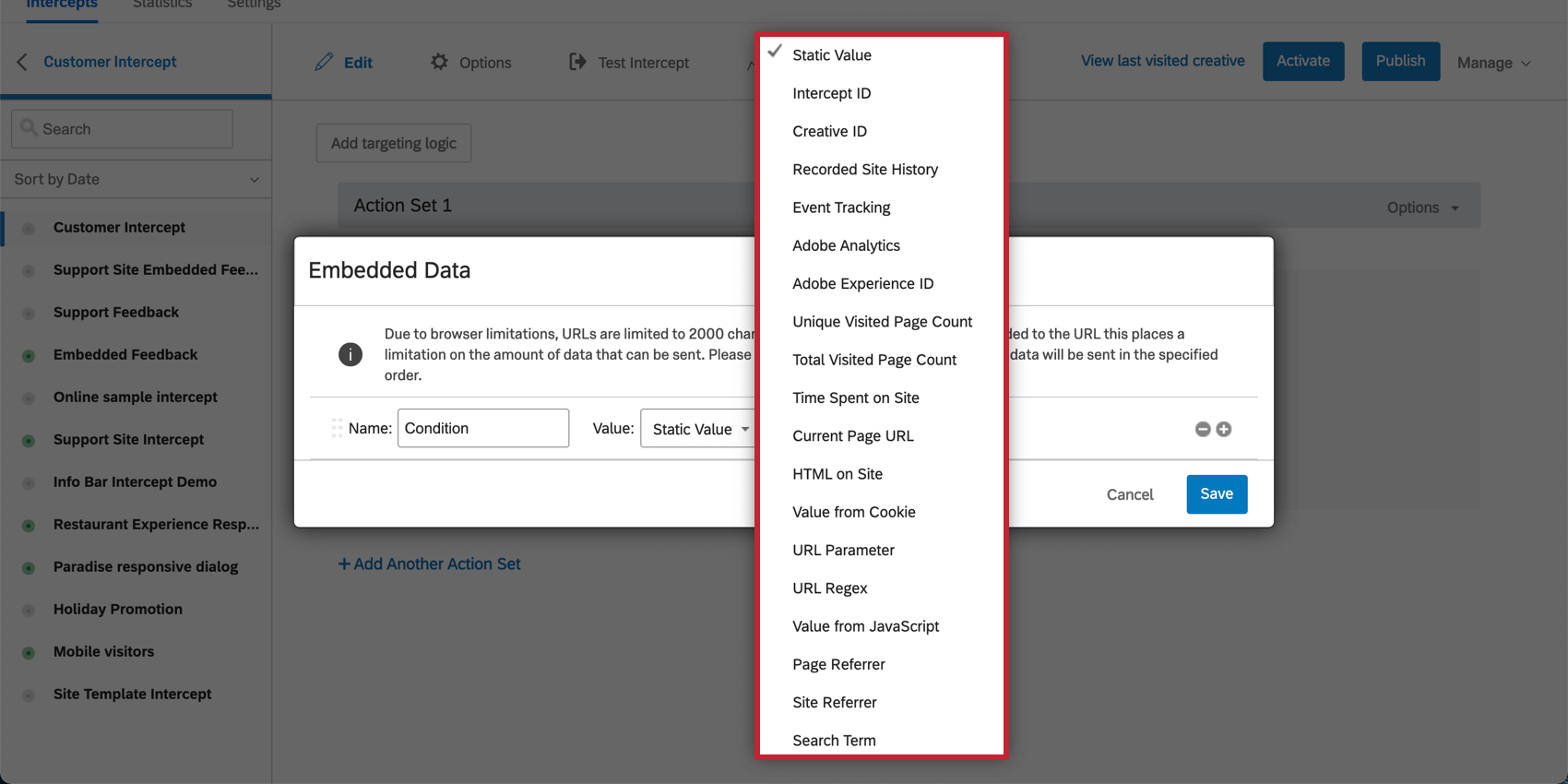 Embedded data value types in the drop down menu of the Website Feedback embedded data