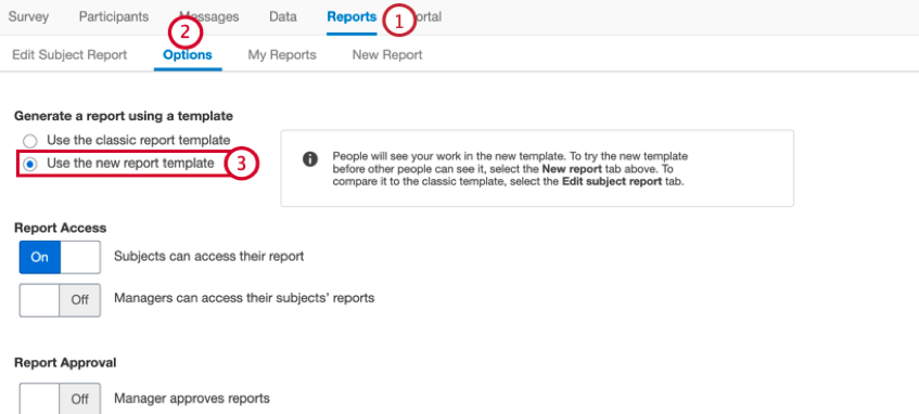 enabling the use new report option for 360 reports