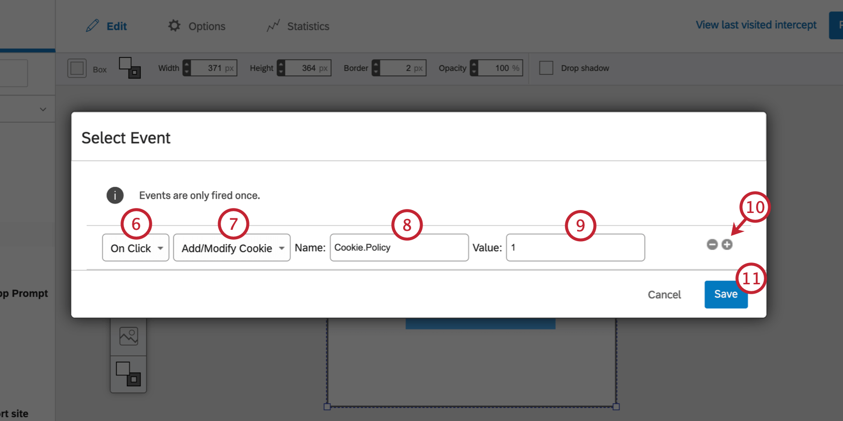 Specifying the elements of the event tracker on a creative