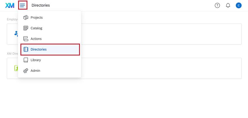 using the navigation menu to select directory
