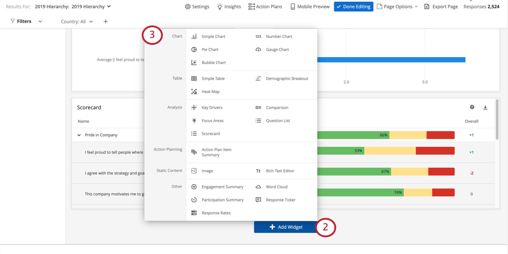 Add Widget button opening a menu of widget types