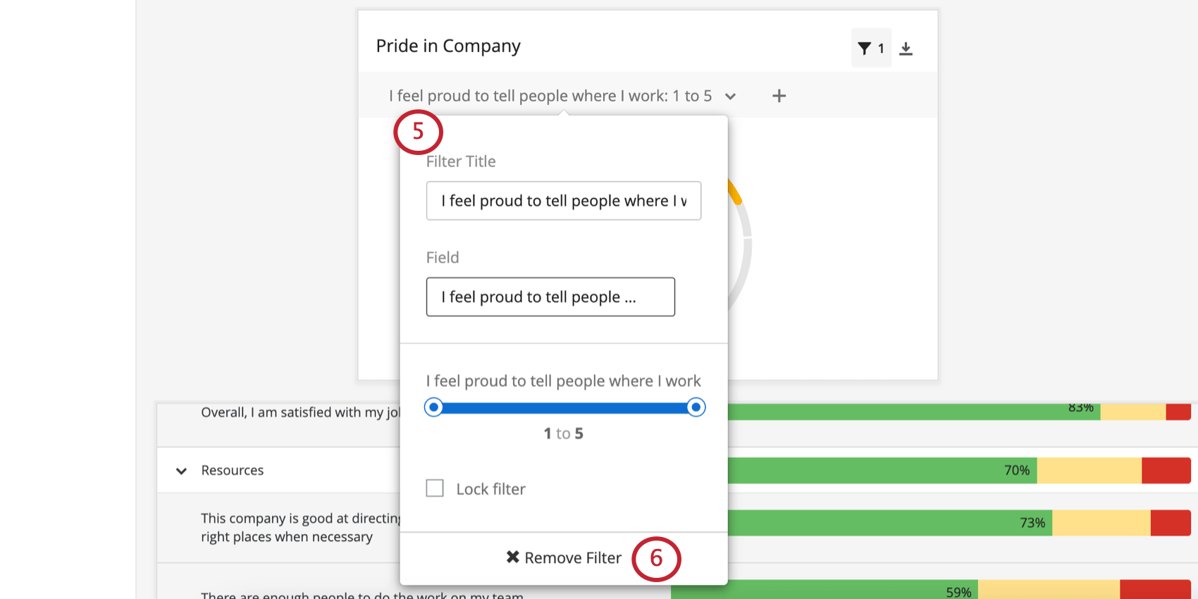 Filter dropdown on upper-left of widget. When clicked, there are several options, including Remove filter at the bottom