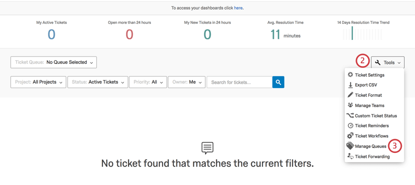 Using tools to open queues in the follow up page