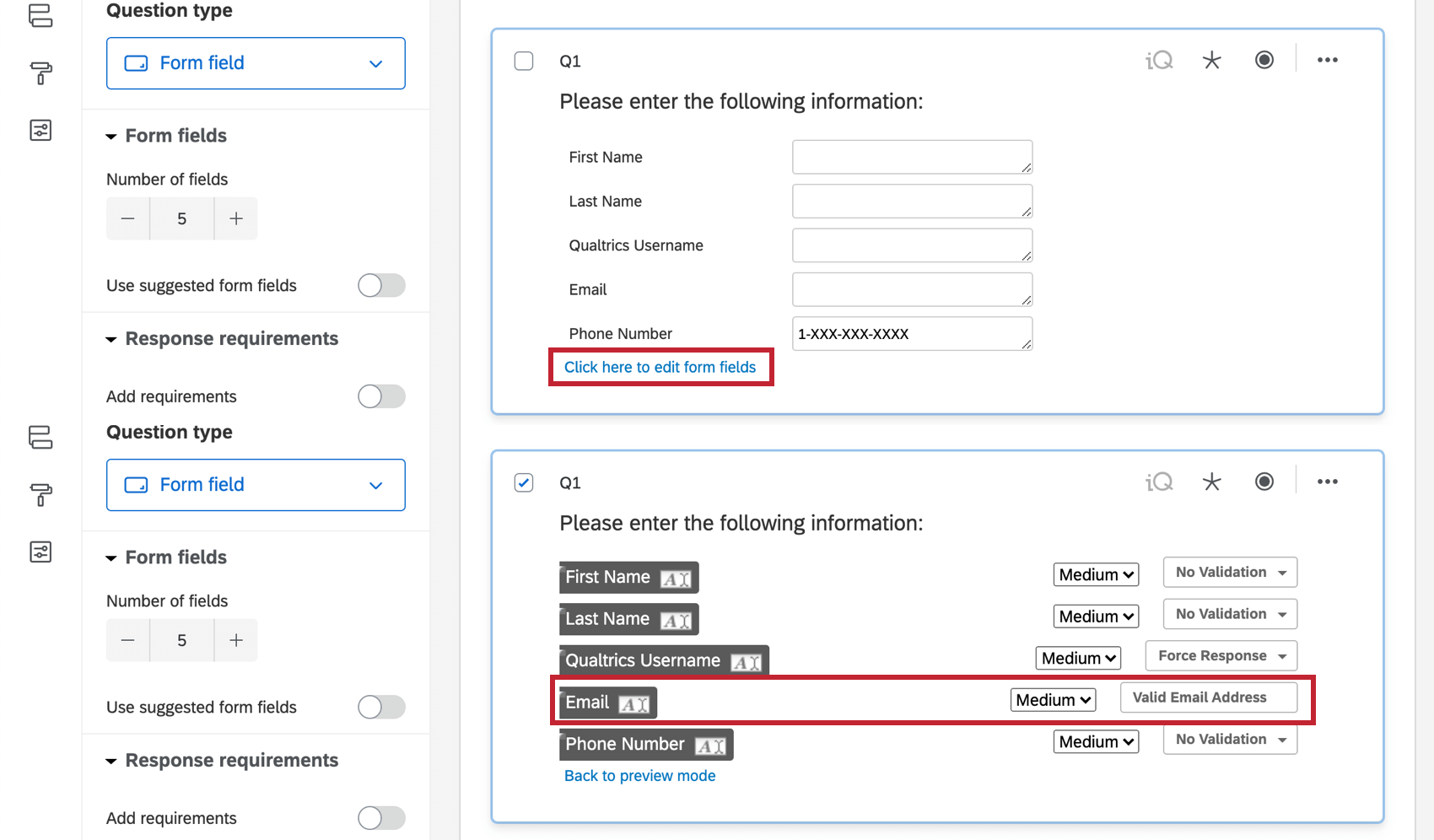 Setting content validation on a form