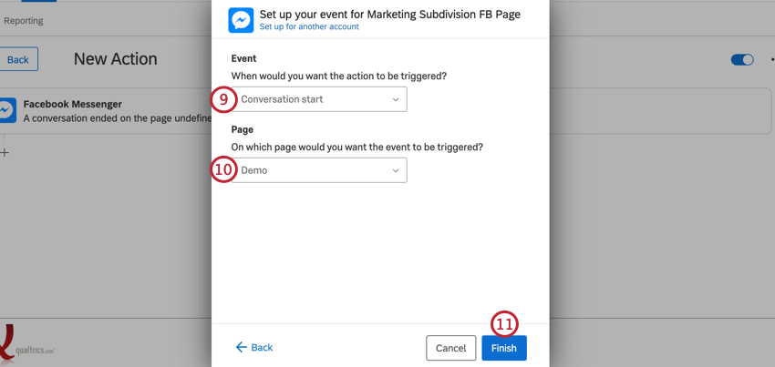 choosing the event and page and clicking finish
