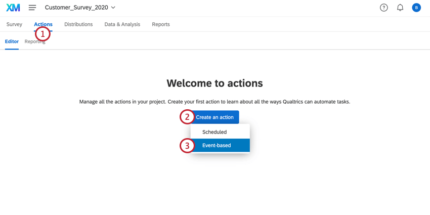 navigating to the actions tab and creating an event-based action
