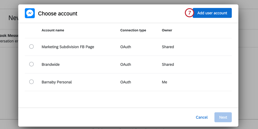 clicking add user account in the top right