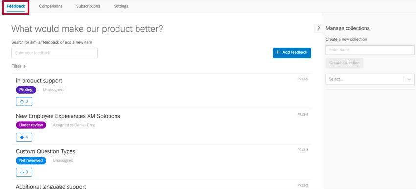 the feedback tab for submitting feedback