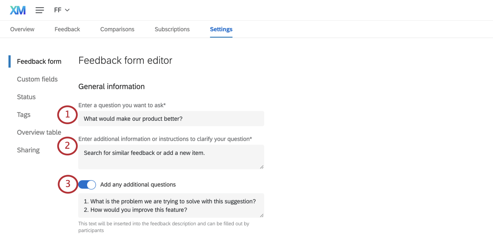 General information section of the feedback form editor