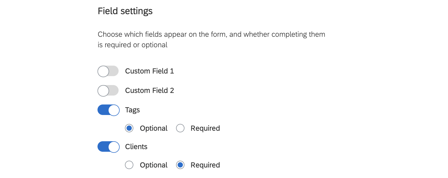 Picture of field settings